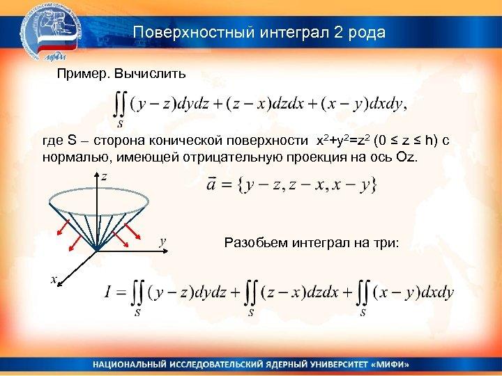 Поверхностный интеграл 2 рода Пример. Вычислить где S – сторона конической поверхности x 2+y