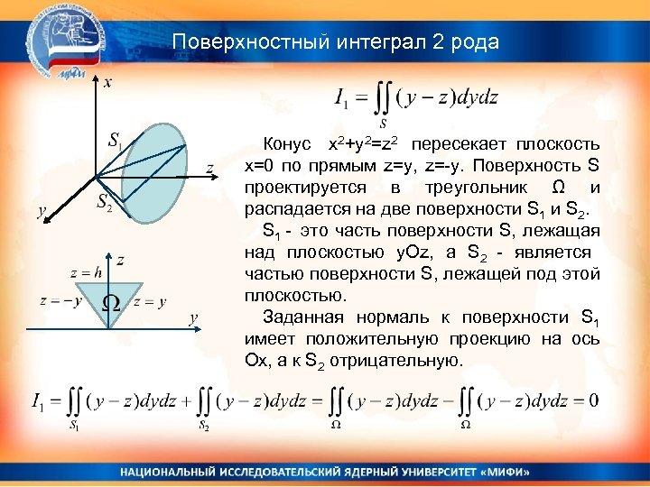 Поверхностный интеграл 2 рода Конус x 2+y 2=z 2 пересекает плоскость x=0 по прямым