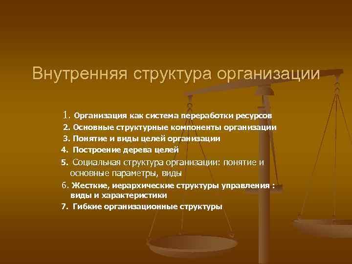 Внутренняя структура организации 1. Организация как система переработки ресурсов 2. Основные структурные компоненты организации