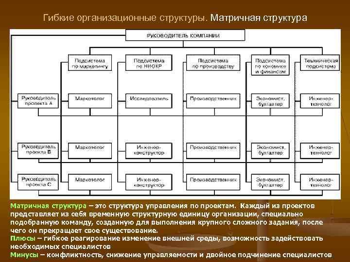 Гибкие организационные структуры. Матричная структура – это структура управления по проектам. Каждый из проектов