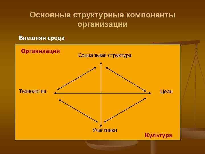Основные структурные компоненты организации Внешняя среда Организация Социальная структура Технология Цели Участники Культура