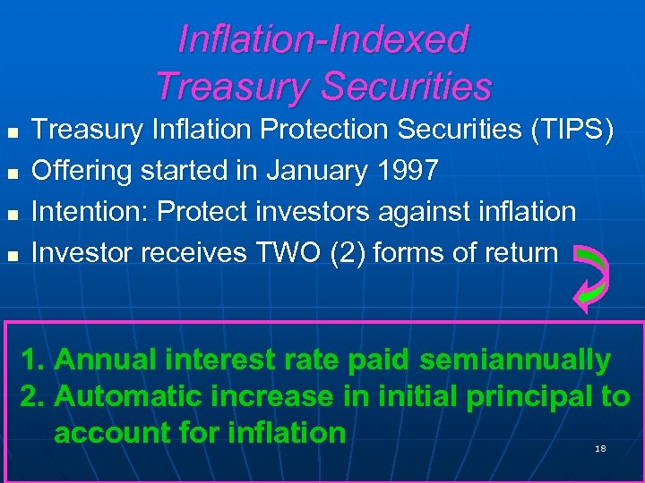 Inflation-Indexed Treasury Securities n n Treasury Inflation Protection Securities (TIPS) Offering started in January