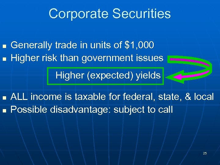 Corporate Securities n n Generally trade in units of $1, 000 Higher risk than