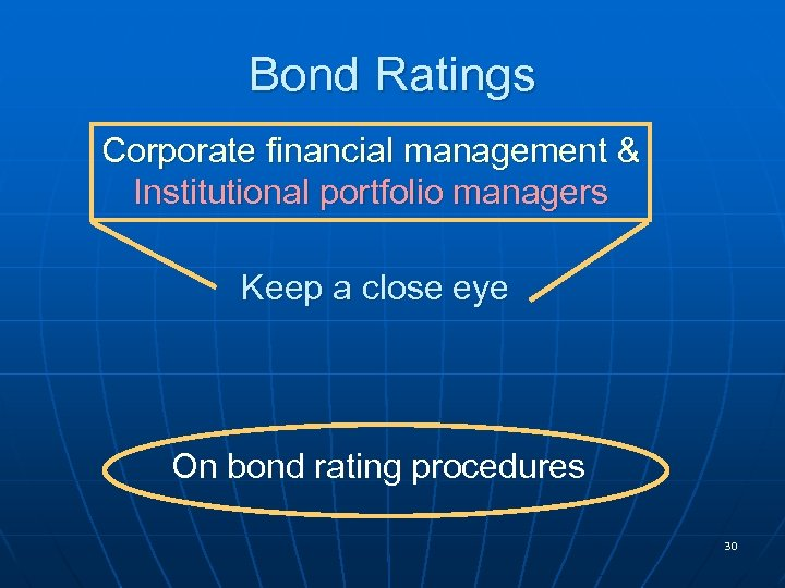 Bond Ratings Corporate financial management & Institutional portfolio managers Keep a close eye On