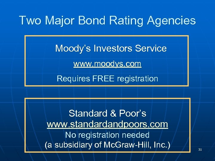 Two Major Bond Rating Agencies Moody's Investors Service www. moodys. com Requires FREE registration