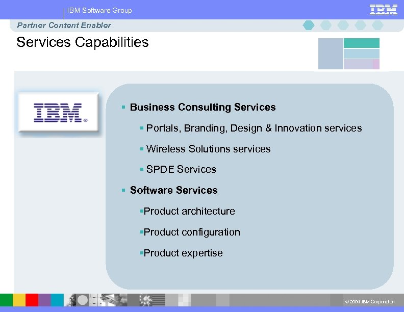 IBM Software Group Partner Content Enabler Services Capabilities § Business Consulting Services § Portals,