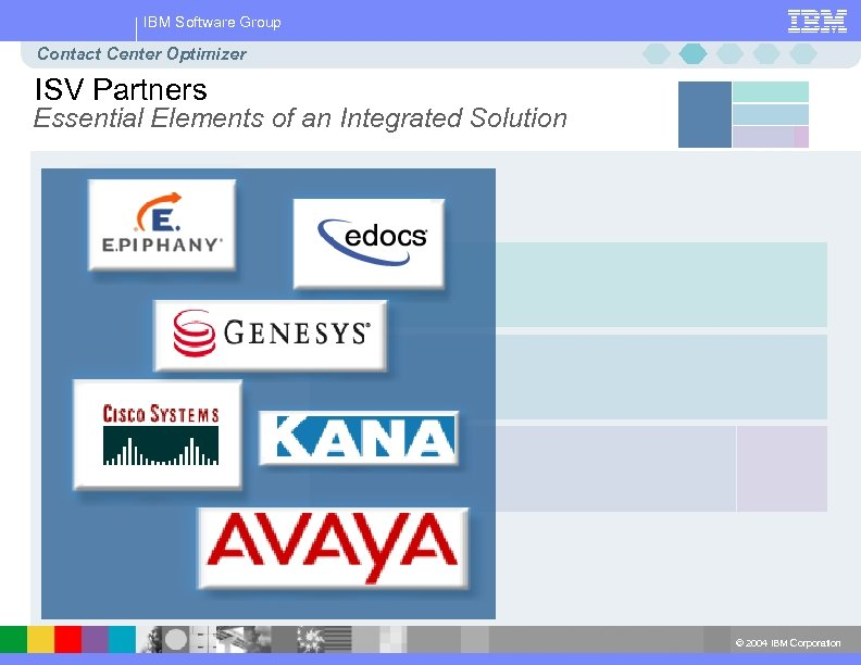 IBM Software Group Contact Center Optimizer ISV Partners Essential Elements of an Integrated Solution