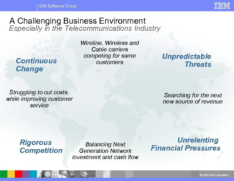 IBM Software Group A Challenging Business Environment Especially in the Telecommunications Industry Wireline, Wireless