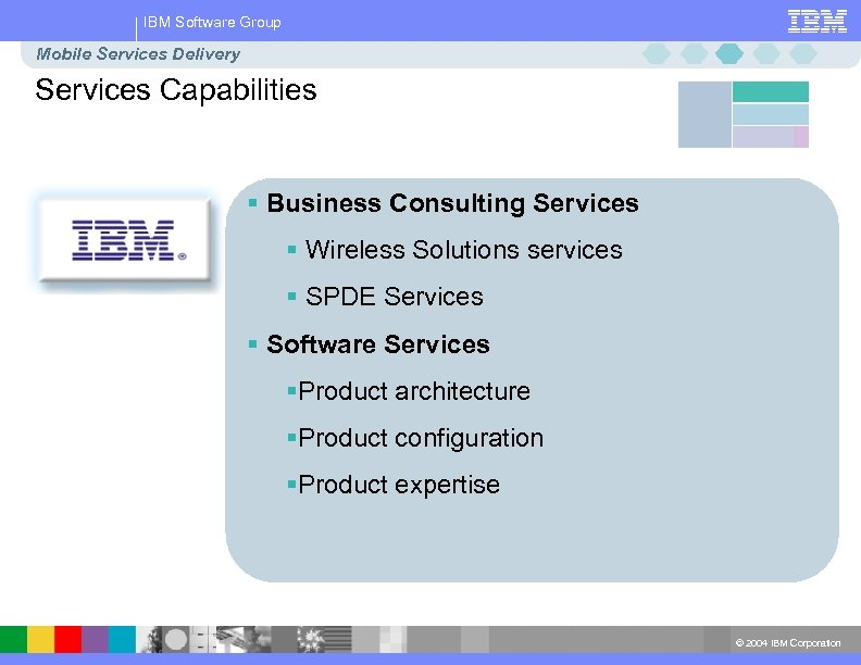 IBM Software Group Mobile Services Delivery Services Capabilities § Business Consulting Services § Wireless