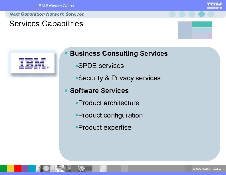 IBM Software Group Next Generation Network Services Capabilities § Business Consulting Services §SPDE services