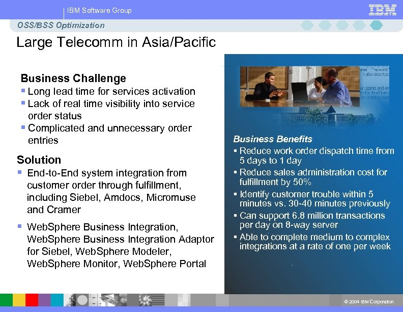 IBM Software Group OSS/BSS Optimization Large Telecomm in Asia/Pacific Business Challenge § Long lead