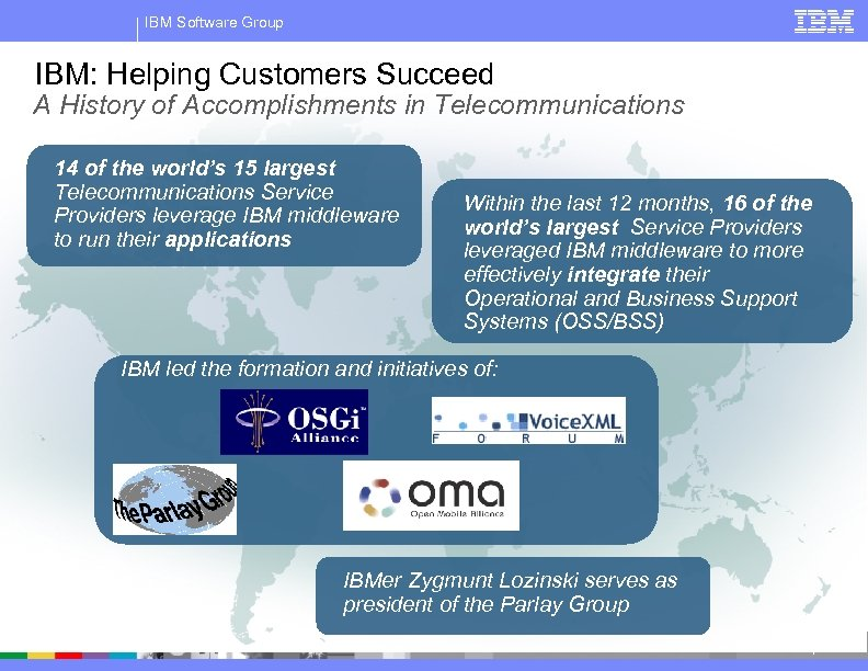 IBM Software Group IBM: Helping Customers Succeed A History of Accomplishments in Telecommunications 14