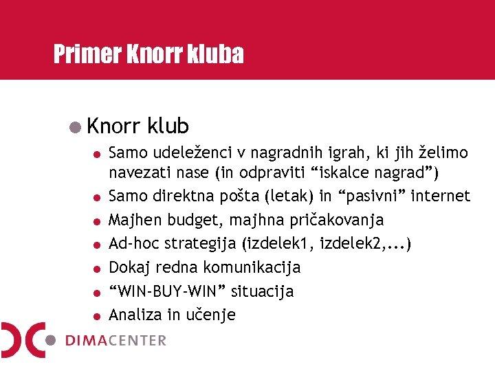 Primer Knorr kluba Knorr klub Samo udeleženci v nagradnih igrah, ki jih želimo navezati