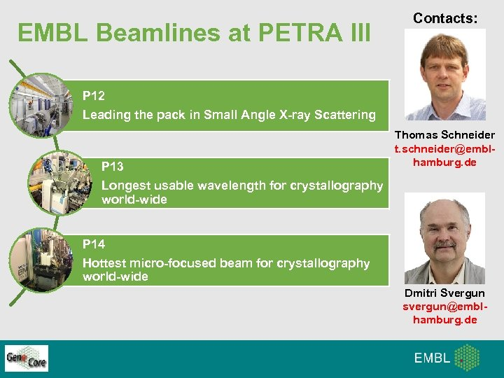 EMBL Beamlines at PETRA III Contacts: P 12 Leading the pack in Small Angle