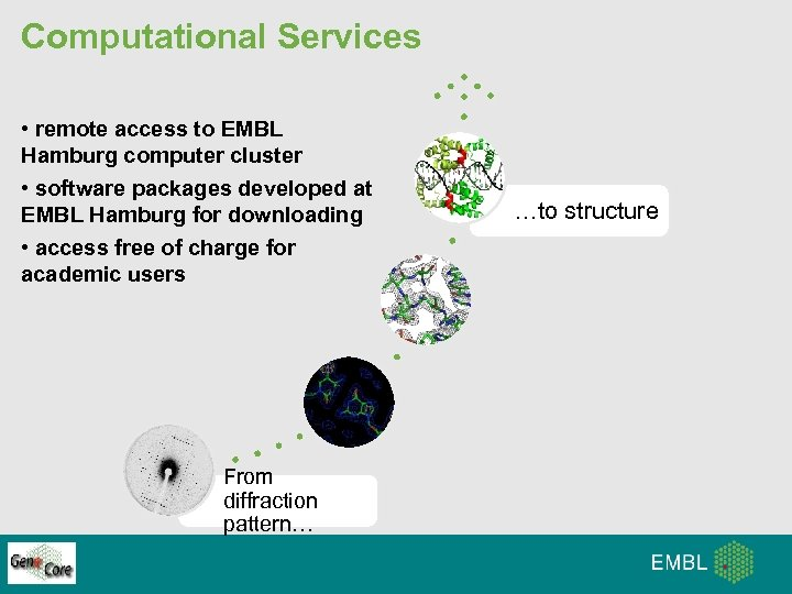Computational Services • remote access to EMBL Hamburg computer cluster • software packages developed
