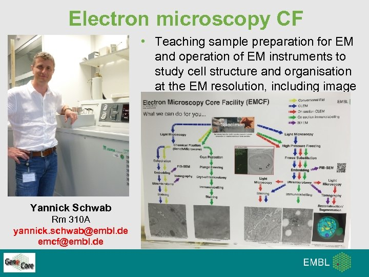 Electron microscopy CF • Teaching sample preparation for EM and operation of EM instruments