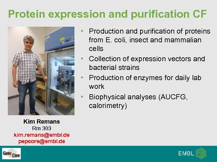 Protein expression and purification CF • Production and purification of proteins from E. coli,