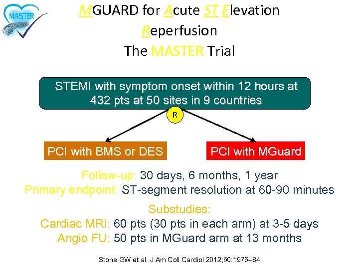 MGUARD for Acute ST Elevation Reperfusion The MASTER Trial STEMI with symptom onset within