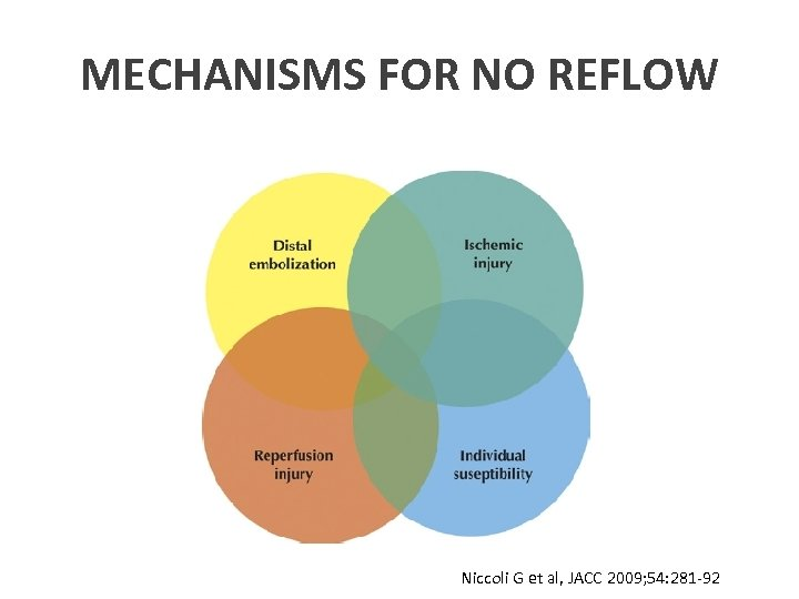 MECHANISMS FOR NO REFLOW Niccoli G et al, JACC 2009; 54: 281 -92