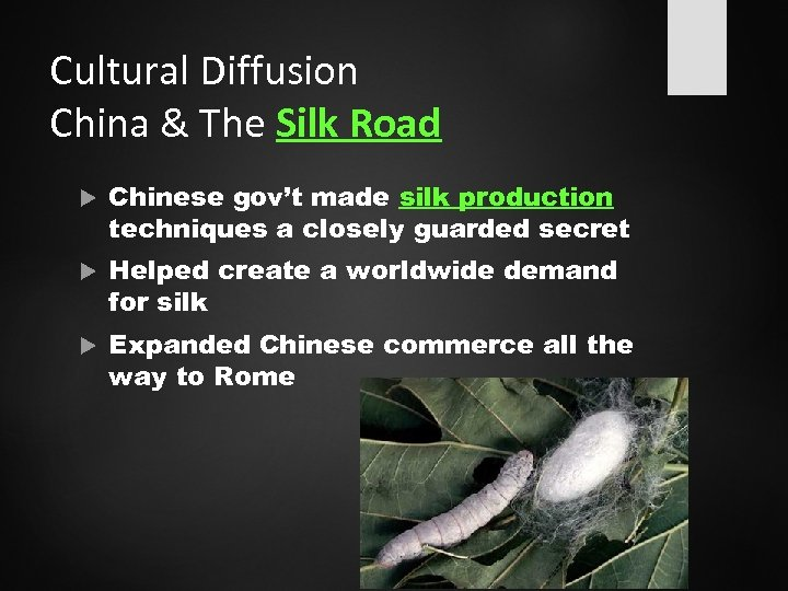 Cultural Diffusion China & The Silk Road Chinese gov't made silk production techniques a
