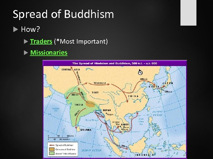 Spread of Buddhism How? Traders (*Most Important) Missionaries