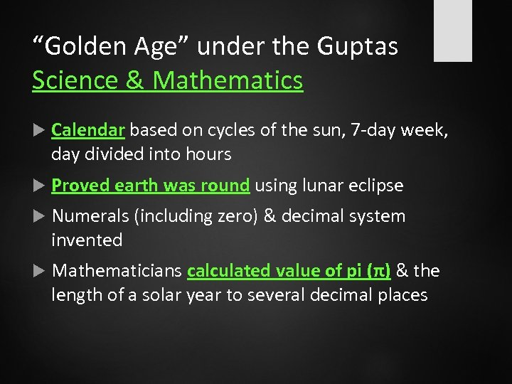 """""""Golden Age"""" under the Guptas Science & Mathematics Calendar based on cycles of the"""