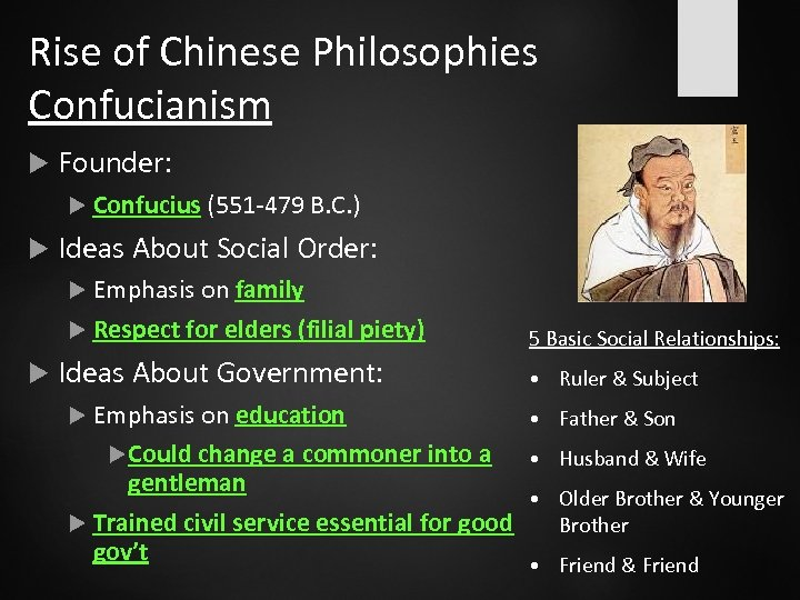 Rise of Chinese Philosophies Confucianism Founder: Confucius (551 -479 B. C. ) Ideas About