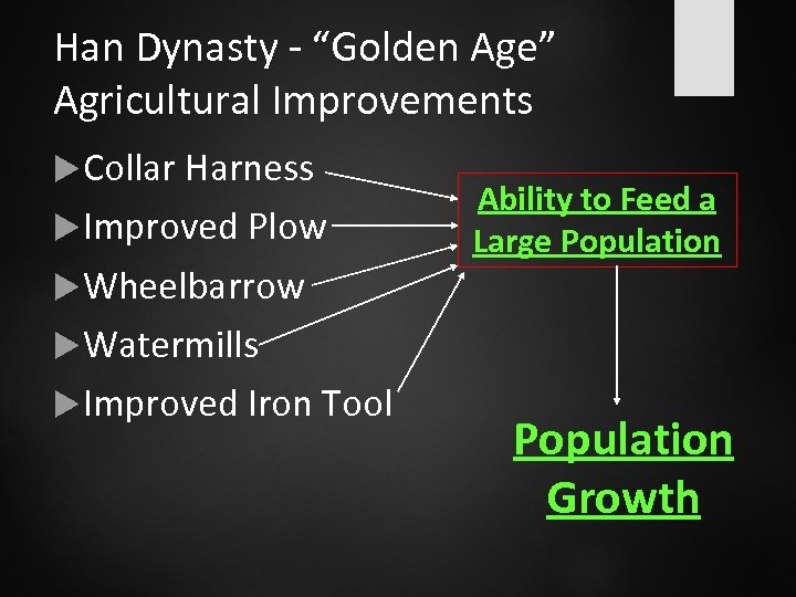 """Han Dynasty - """"Golden Age"""" Agricultural Improvements Collar Harness Improved Plow Wheelbarrow Ability to"""
