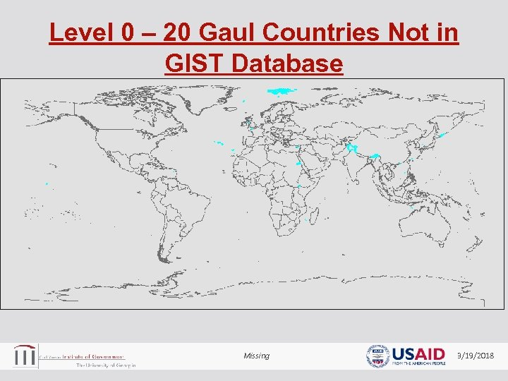 Level 0 – 20 Gaul Countries Not in GIST Database Missing 3/19/2018