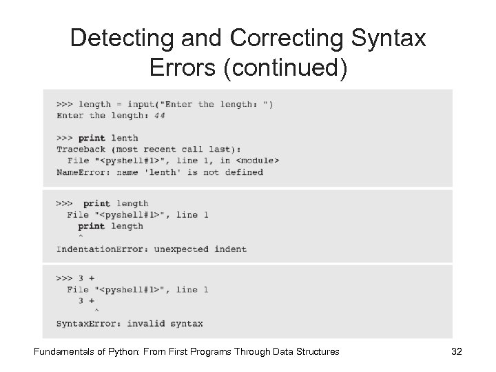 Detecting and Correcting Syntax Errors (continued) Fundamentals of Python: From First Programs Through Data