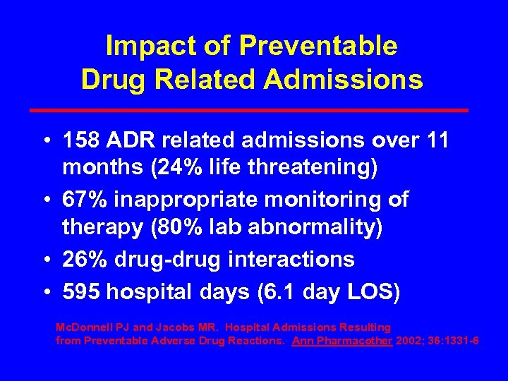 Impact of Preventable Drug Related Admissions • 158 ADR related admissions over 11 months