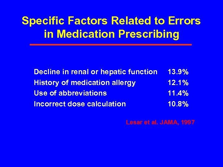 Specific Factors Related to Errors in Medication Prescribing Decline in renal or hepatic function