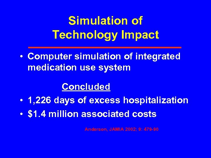 Simulation of Technology Impact • Computer simulation of integrated medication use system Concluded •
