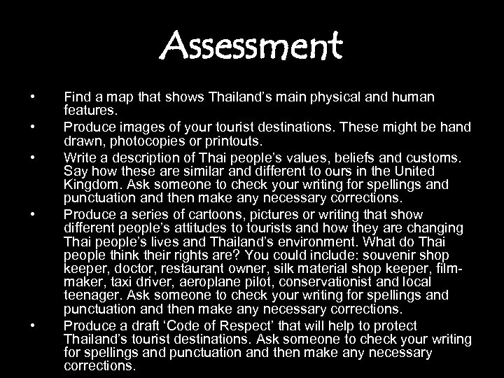 Assessment • • • Find a map that shows Thailand's main physical and human