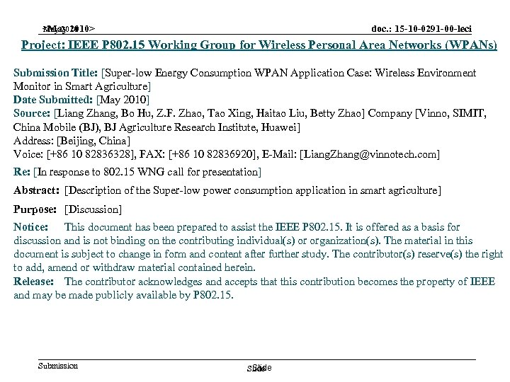 doc. : 15 -10 -0291 -00 -leci May 2010 <May 2010> Project: IEEE P
