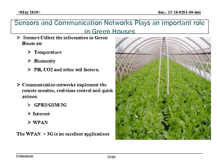 doc. : 15 -10 -0291 -00 -leci <May 2010> Sensors and Communication Networks Plays