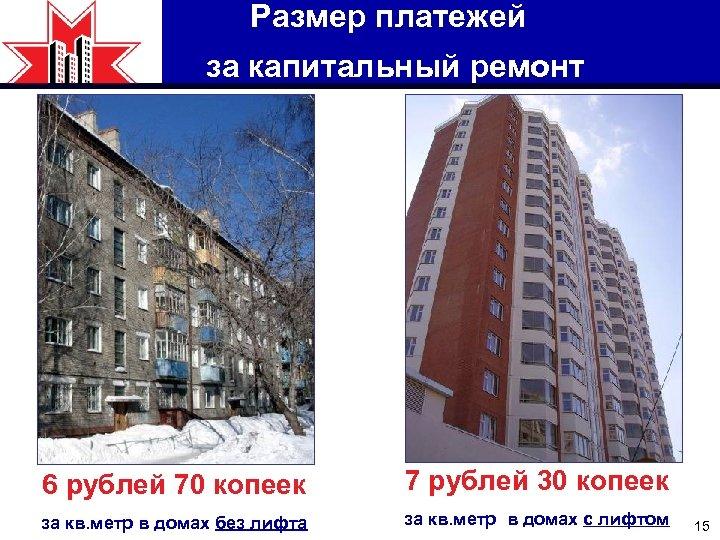 Размер платежей за капитальный ремонт 6 рублей 70 копеек 7 рублей 30 копеек за