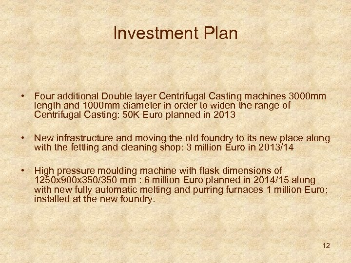 Investment Plan • Four additional Double layer Centrifugal Casting machines 3000 mm length and