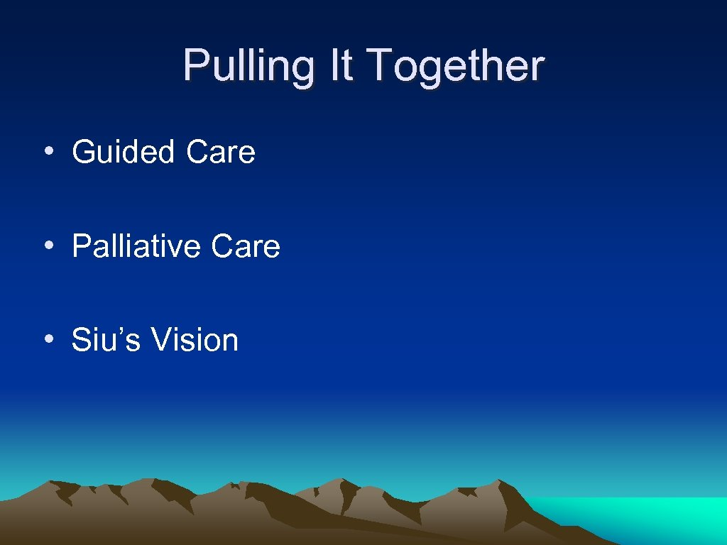 Pulling It Together • Guided Care • Palliative Care • Siu's Vision