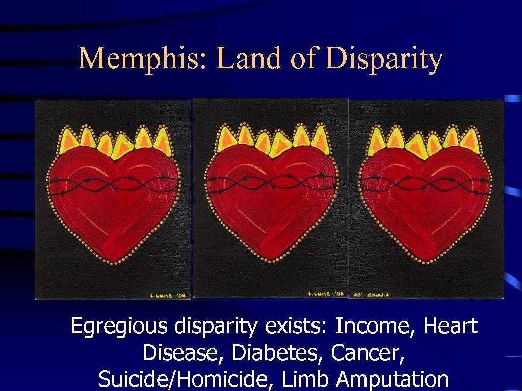 Memphis: Land of Disparity Egregious disparity exists: Income, Heart Disease, Diabetes, Cancer, Suicide/Homicide, Limb