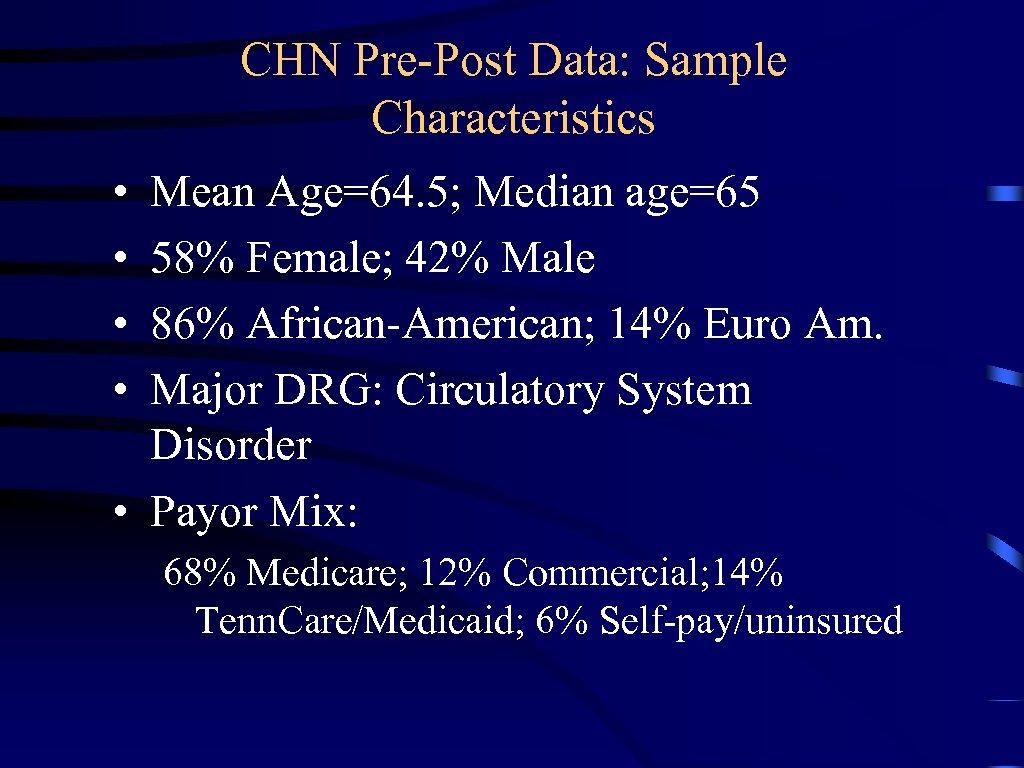 CHN Pre-Post Data: Sample Characteristics • • Mean Age=64. 5; Median age=65 58% Female;