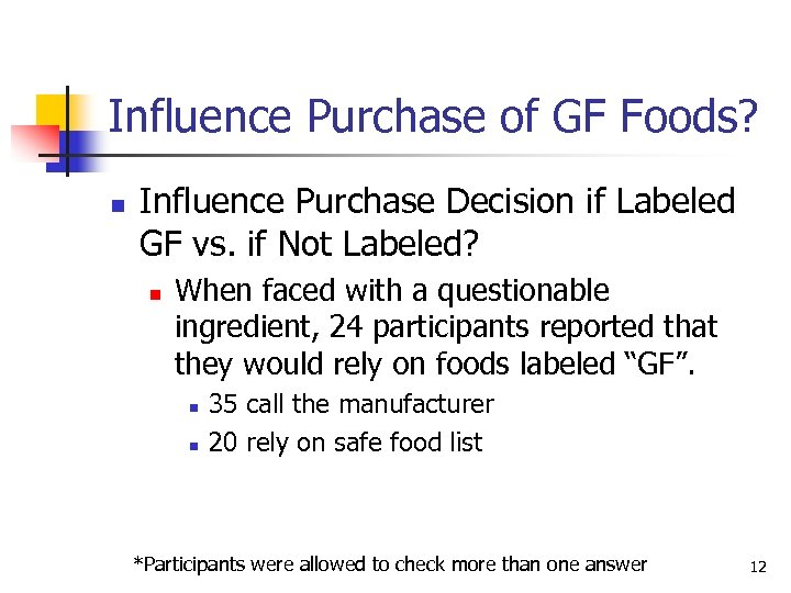 Influence Purchase of GF Foods? n Influence Purchase Decision if Labeled GF vs. if