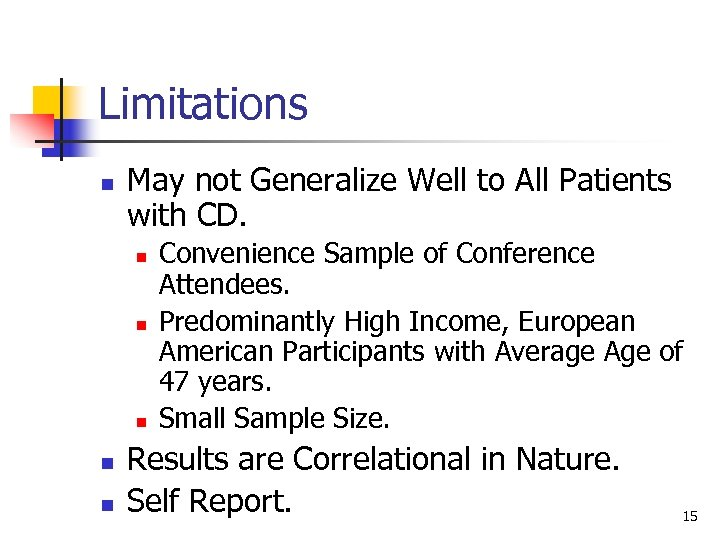 Limitations n May not Generalize Well to All Patients with CD. n n n