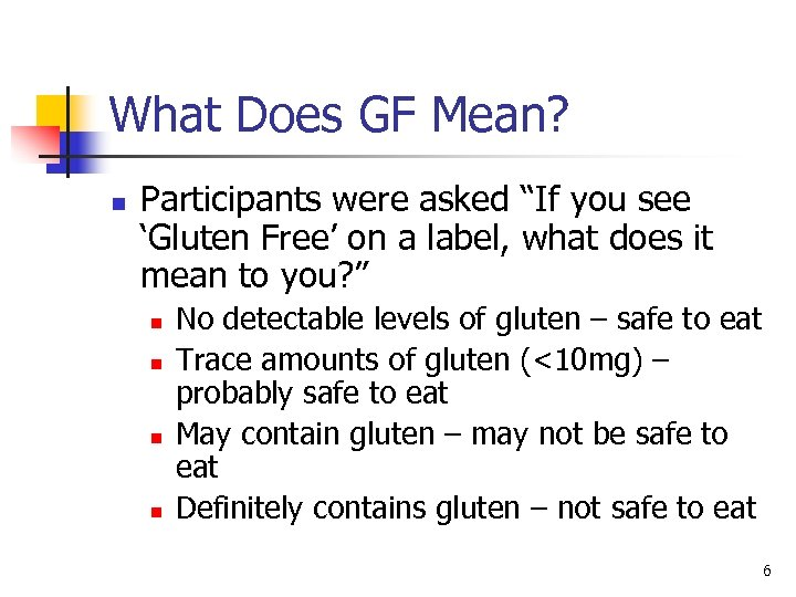 """What Does GF Mean? n Participants were asked """"If you see 'Gluten Free' on"""