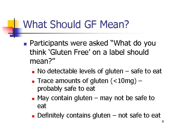 """What Should GF Mean? n Participants were asked """"What do you think 'Gluten Free'"""