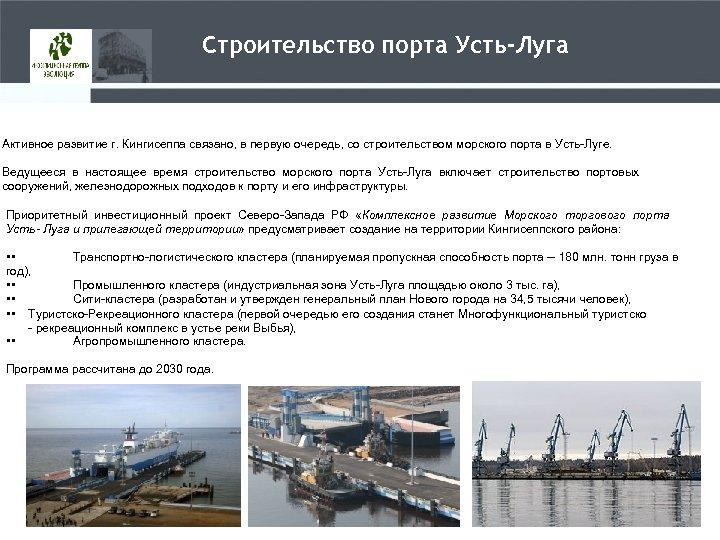 Строительство порта Усть-Луга Активное развитие г. Кингисеппа связано, в первую очередь, со строительством морского