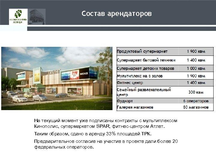 Состав арендаторов На текущий момент уже подписаны контракты с мультиплексом Кинополис, супермаркетом SPAR, фитнес-центром