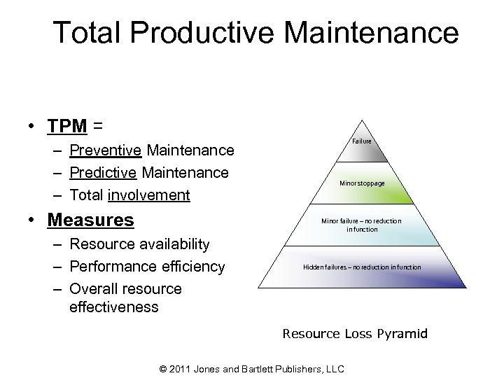Total Productive Maintenance • TPM = – Preventive Maintenance – Predictive Maintenance – Total