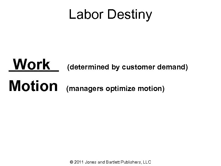 Labor Destiny Work Motion (determined by customer demand) (managers optimize motion) © 2011 Jones