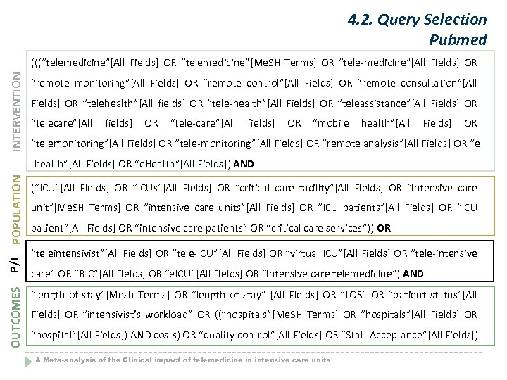 """4. 2. Query Selection Pubmed INTERVENTION (((""""telemedicine""""[All Fields] OR """"telemedicine""""[Me. SH Terms] OR """"tele-medicine""""[All"""